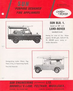 1964 Sun Engineering Ltd Fire Engines Literature,Manuals,