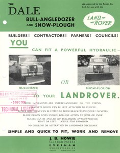 Howie Dale Snow Plough -parts or complete as fitted in 1964
