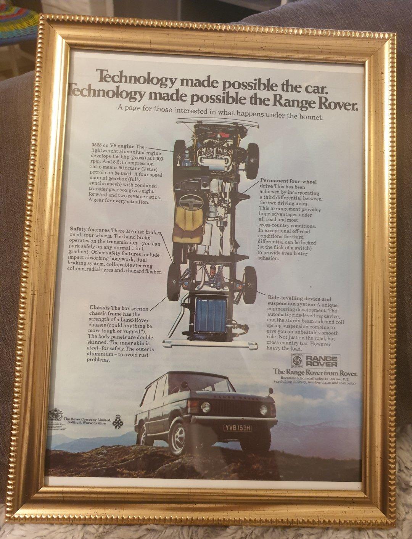 1970 Range Rover Framed Advert Original  For Sale (picture 1 of 2)