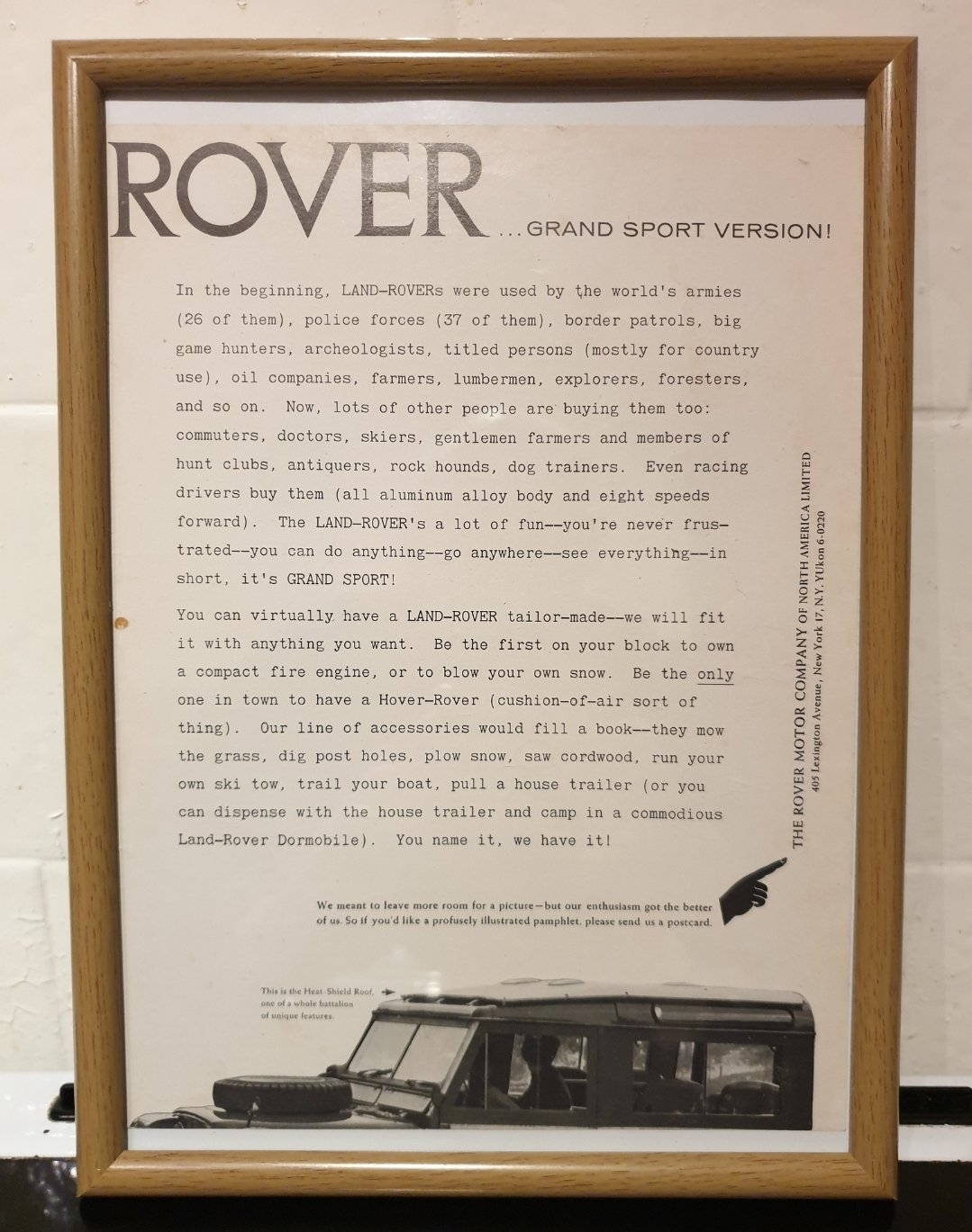 1963 Land Rover Framed Advert Original  For Sale (picture 1 of 2)