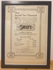 Picture of 1988 Original 1922 Swift Cars Framed Advert