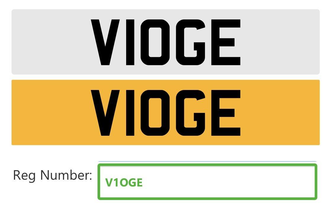 1999 V1OGE Cherished registration, Ideal 'Vogue' numberplate For Sale (picture 2 of 2)