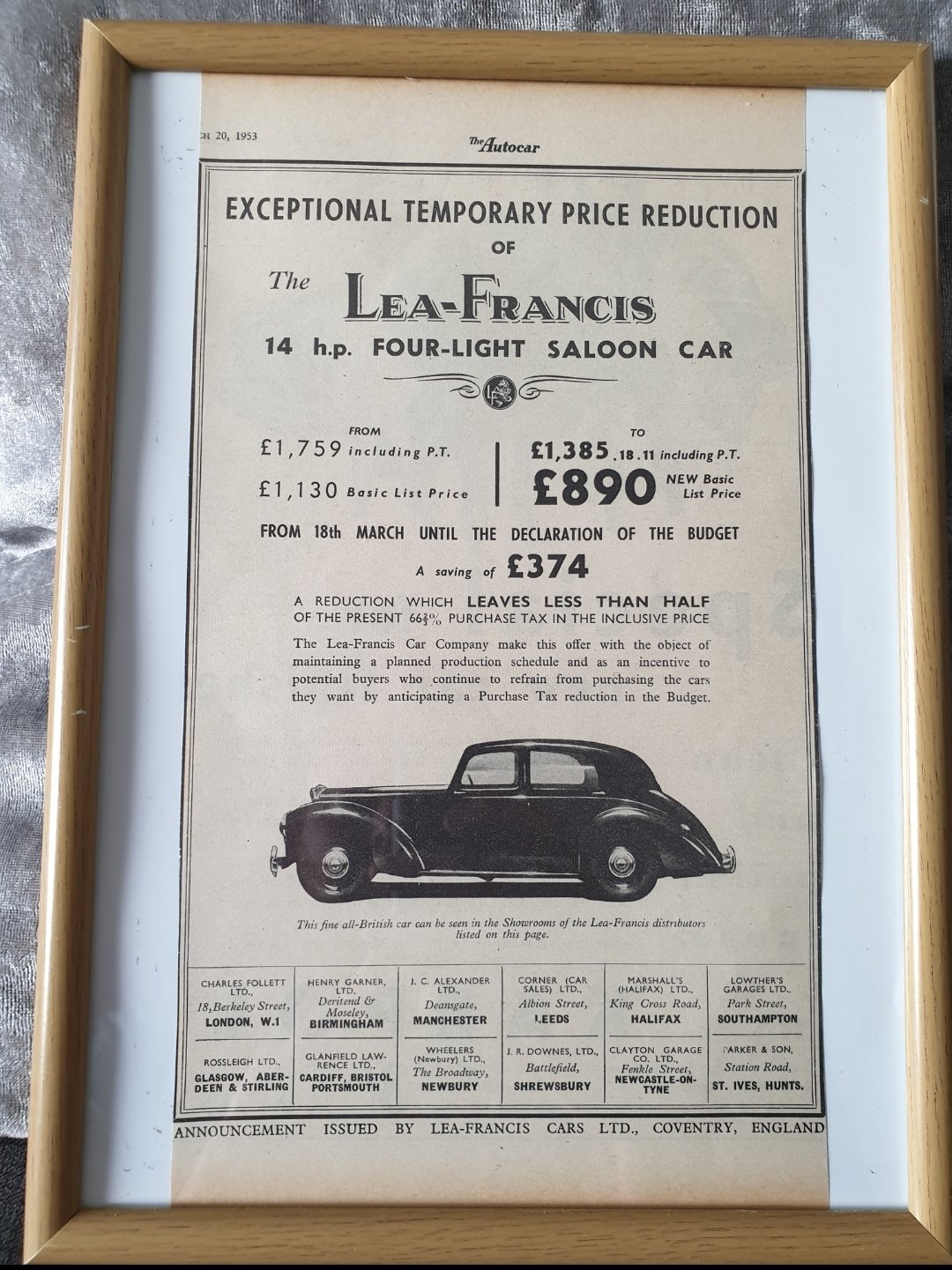 Original 1953 Lea-Francis Framed advert For Sale (picture 1 of 2)