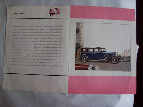 1930's LINCOLN SALES BROCHURE For Sale (picture 5 of 5)
