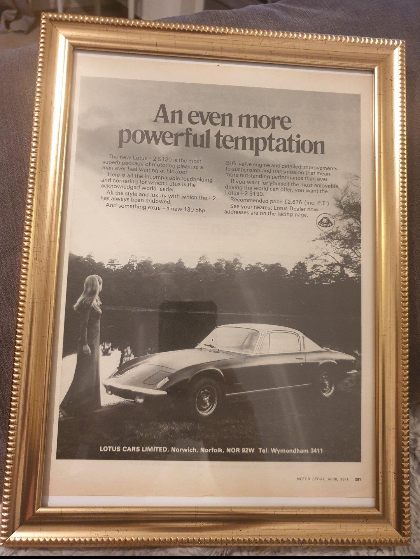 1971 Lotus +2 Framed Advert Original  For Sale (picture 1 of 2)