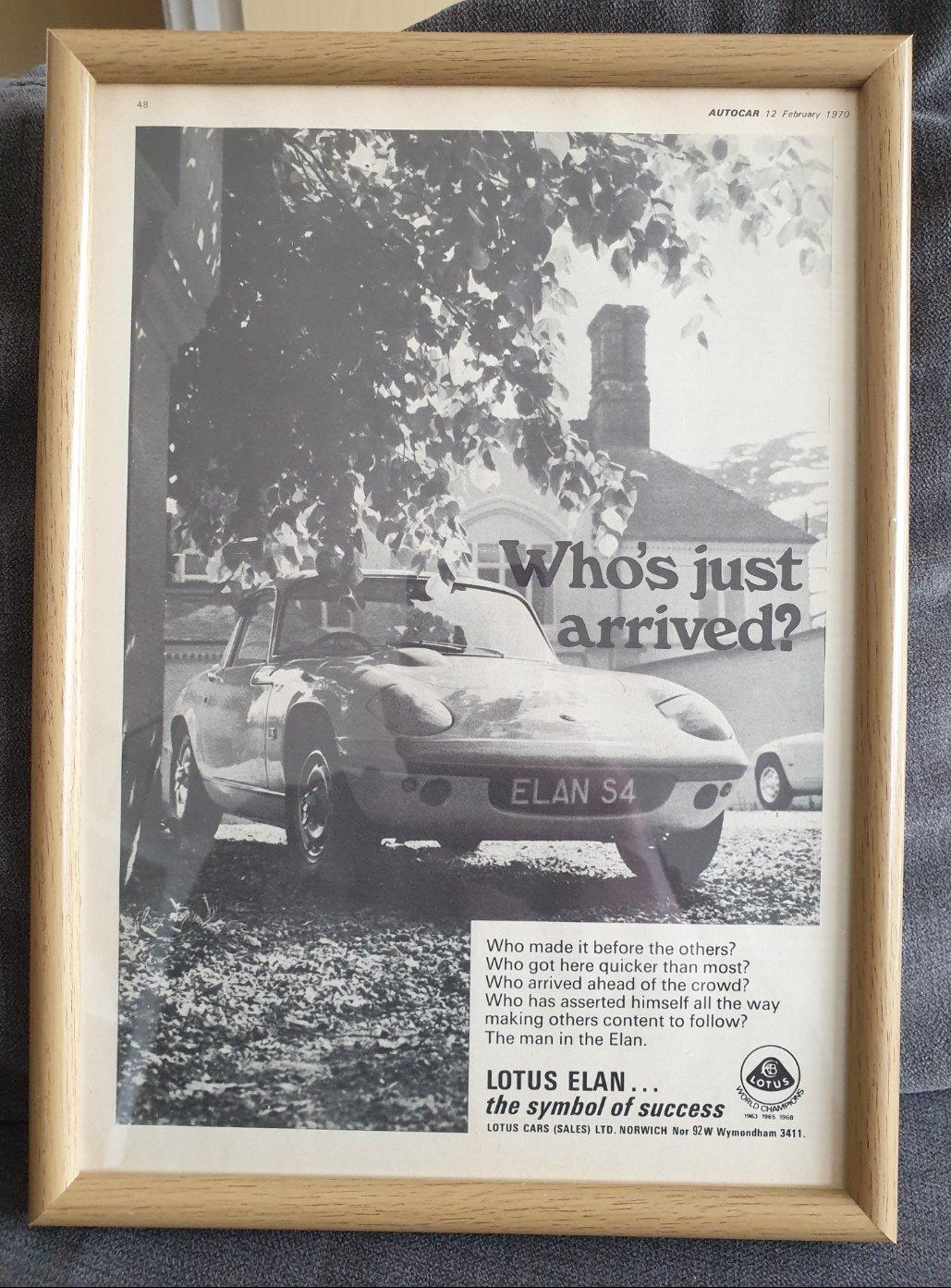 Original 1970 Lotus Elan S4 Framed Advert For Sale (picture 1 of 2)