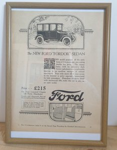 Original 1924 Ford Model T Framed Advert