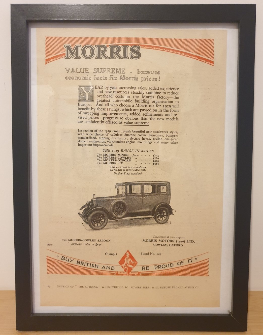 1967 Original 1928 Morris-Cowley Framed Advert  For Sale (picture 1 of 3)