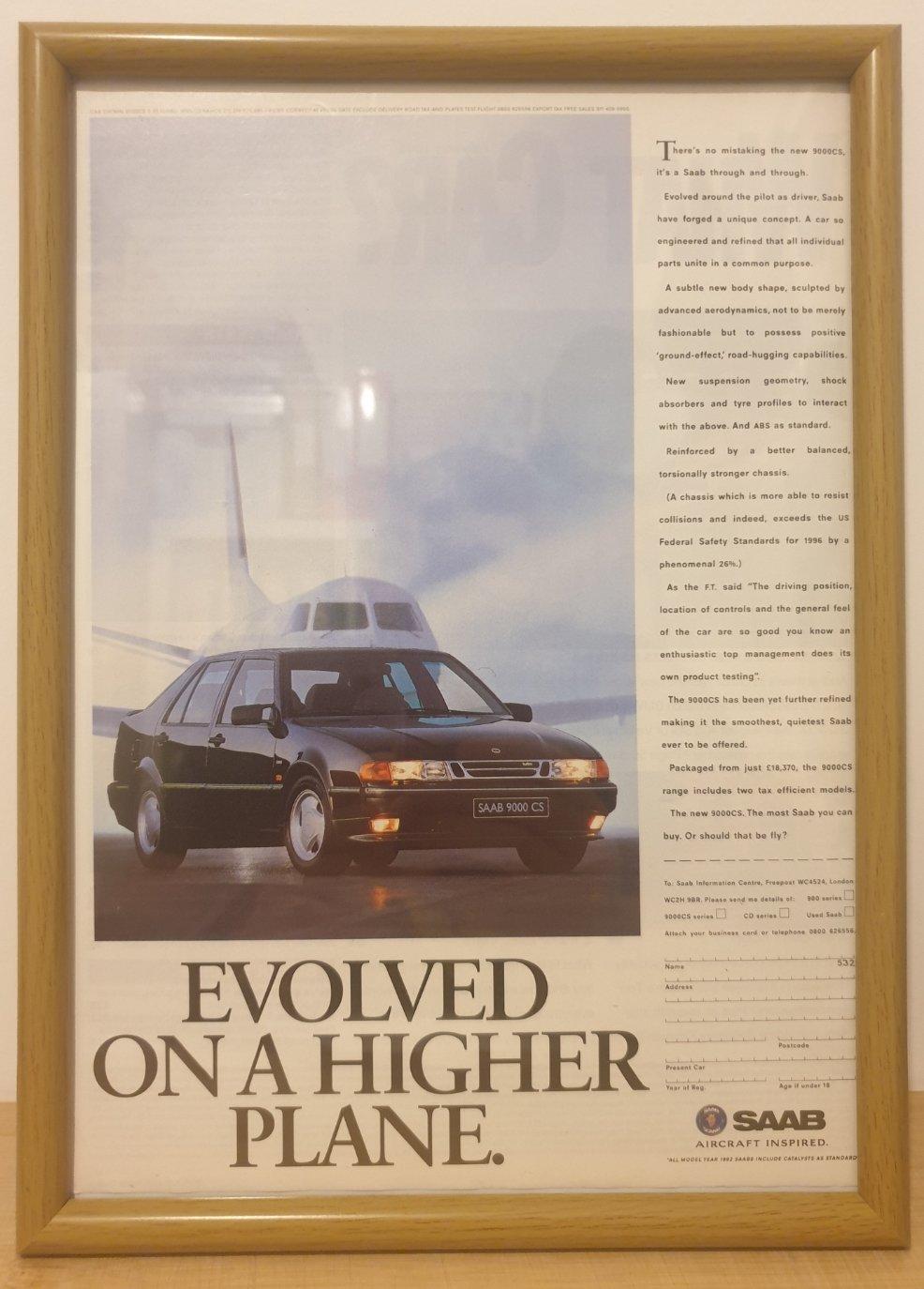 1979 Original 1992 Saab 9000CS Framed Advert  For Sale (picture 1 of 3)