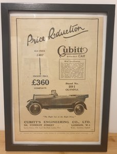 Original 1922 Cubitt 16/20 Framed Advert