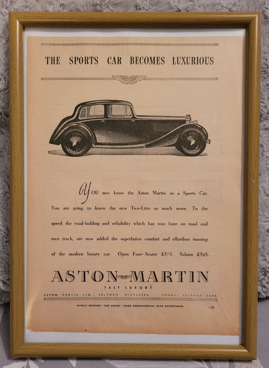 Original 1936 Aston Martin MK2 Framed Advert