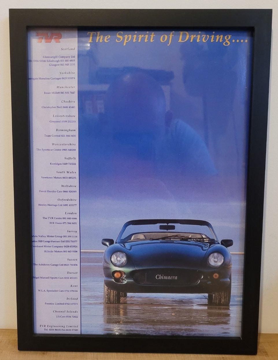 Original 1993 TVR Chimaera Framed Advert