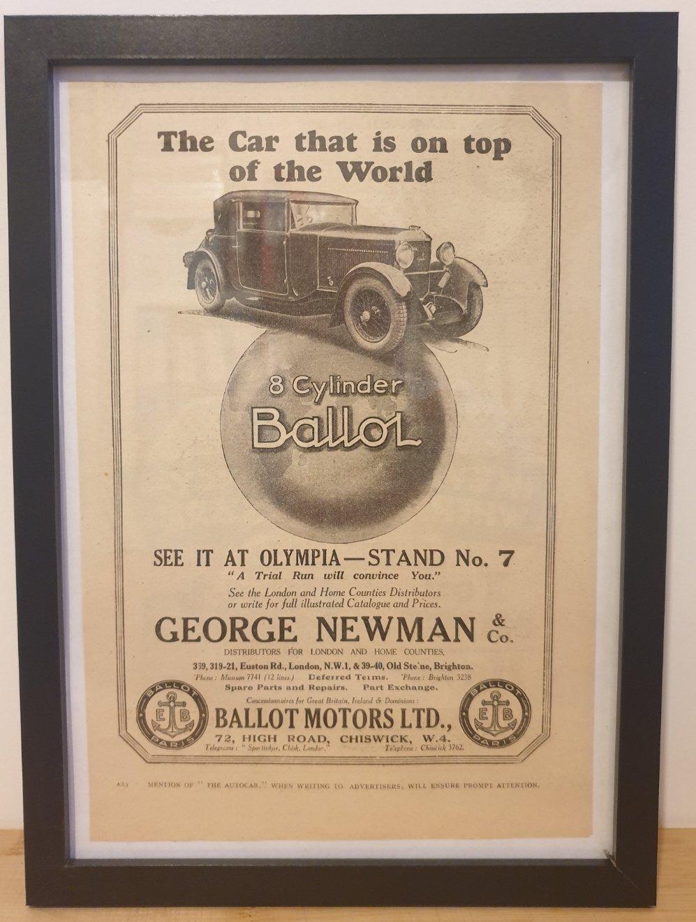 Original 1928 Ballot Motors Framed Advert