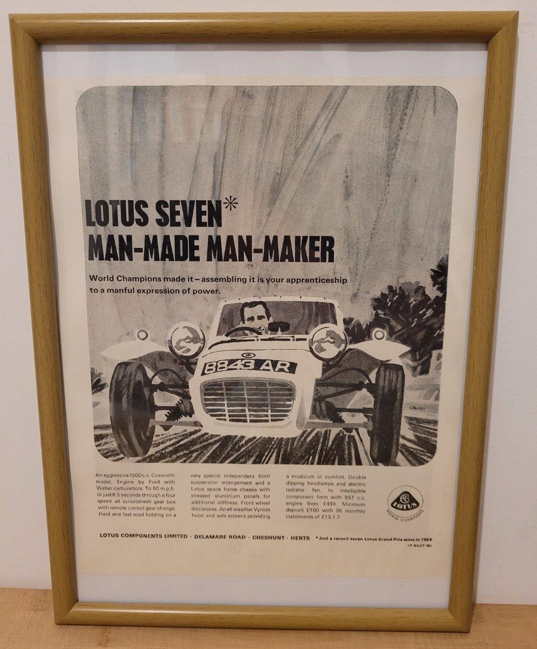 Original 1964 Lotus Seven Framed Advert