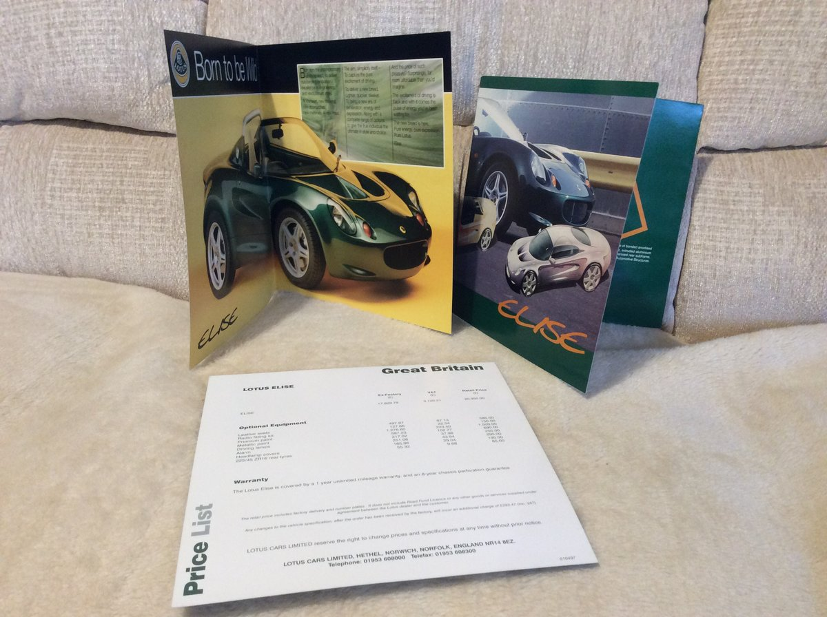 Early Sales brochures for Lotus Elise For Sale (picture 2 of 2)
