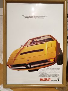 1975 Original Maserati Merak Framed Advert