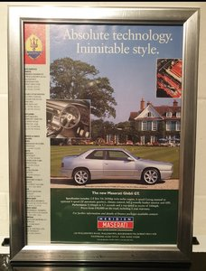 1996 Maserati Ghibli Framed Advert Original
