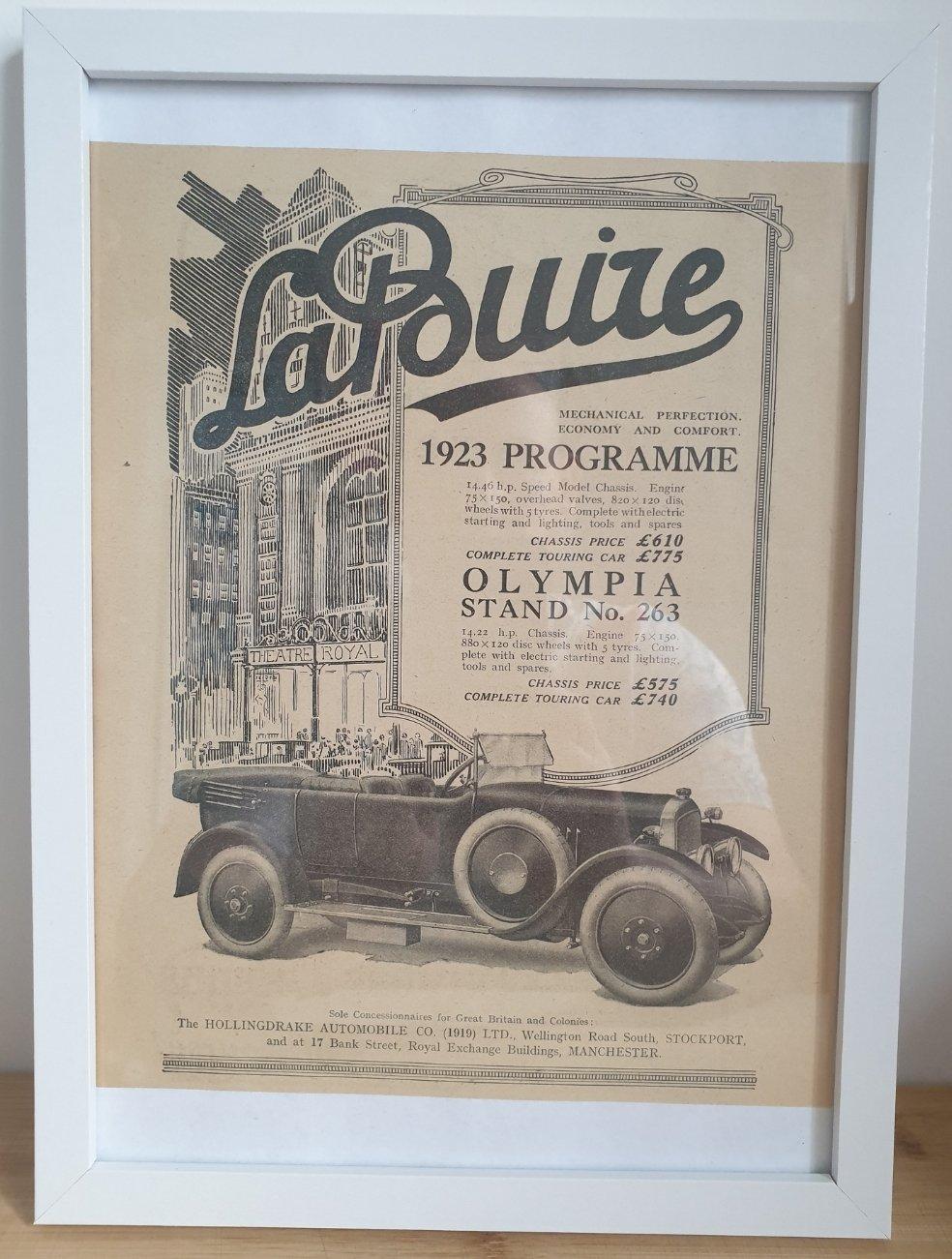 1981 Original 1922 LaBuire Framed Advert  For Sale (picture 1 of 3)