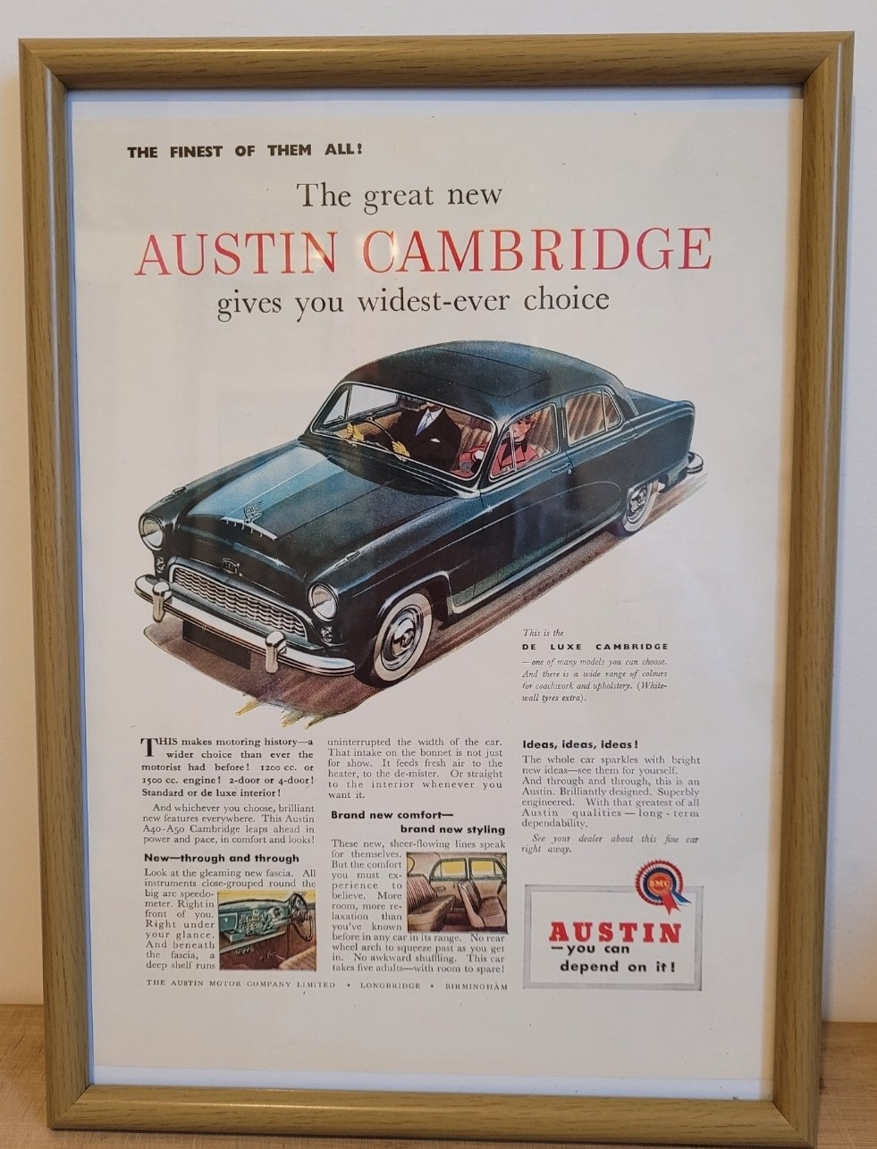 Original 1954 Austin Cambridge Framed Advert
