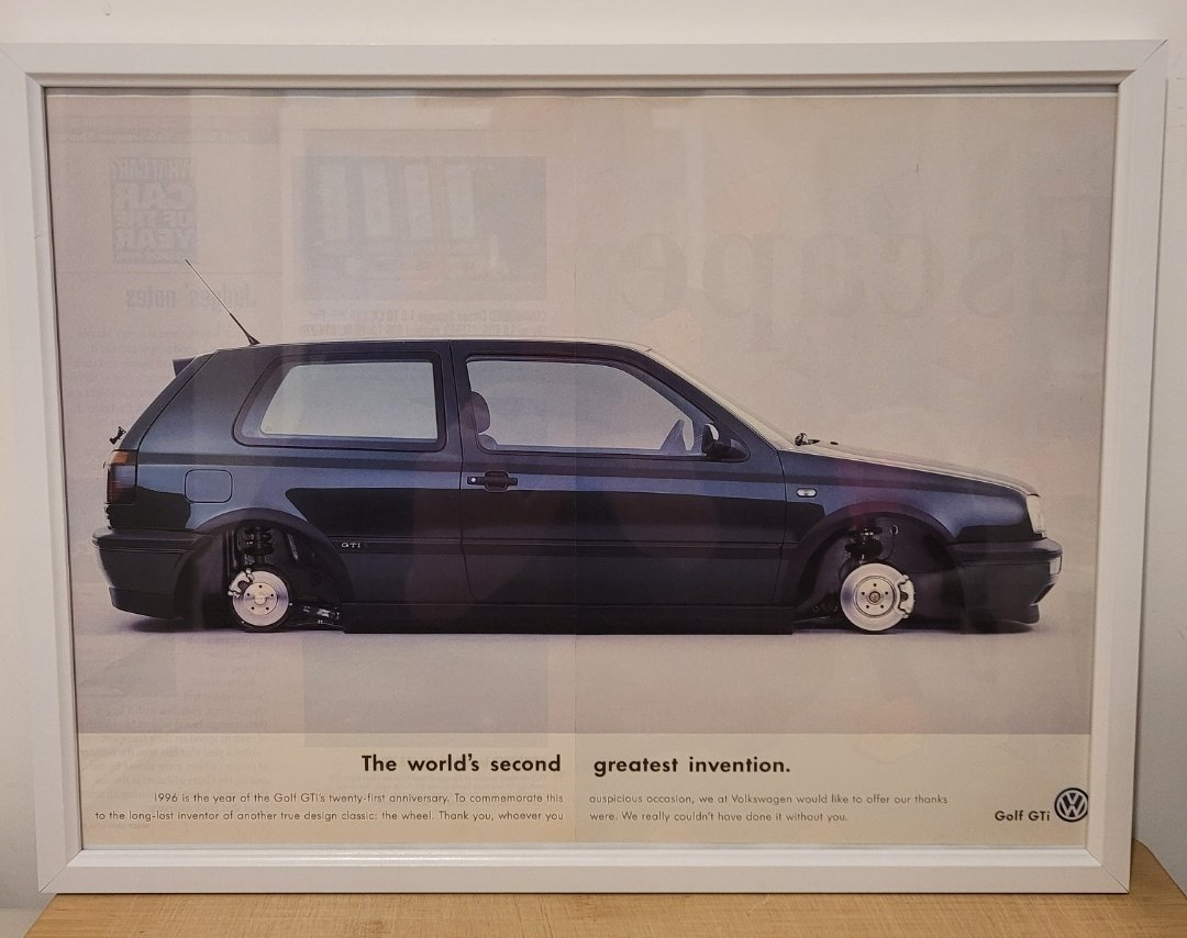 Original 1996 Volkswagen Golf GTi Framed Advert