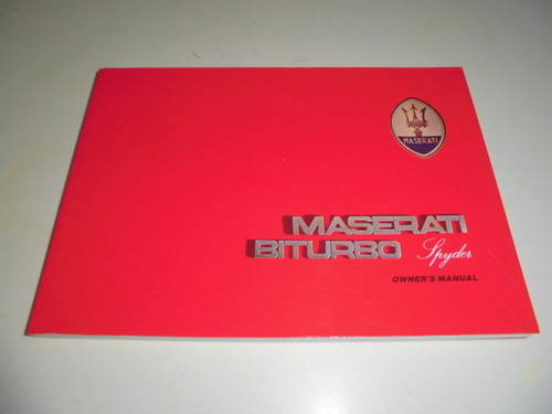 per Maserati biturbo spyder libretto uso e manuten For Sale (picture 1 of 2)