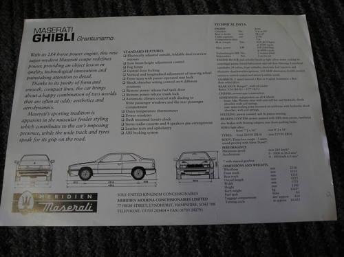 0000 maserati ghibli gran tourismo sales sheet For Sale (picture 2 of 2)