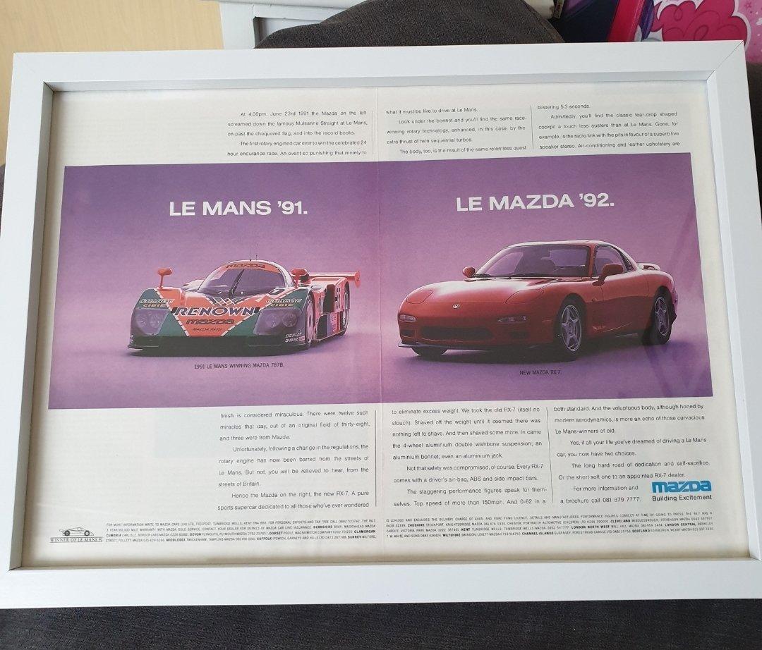 1992 Original Mazda RX-7 Framed Advert For Sale (picture 1 of 2)