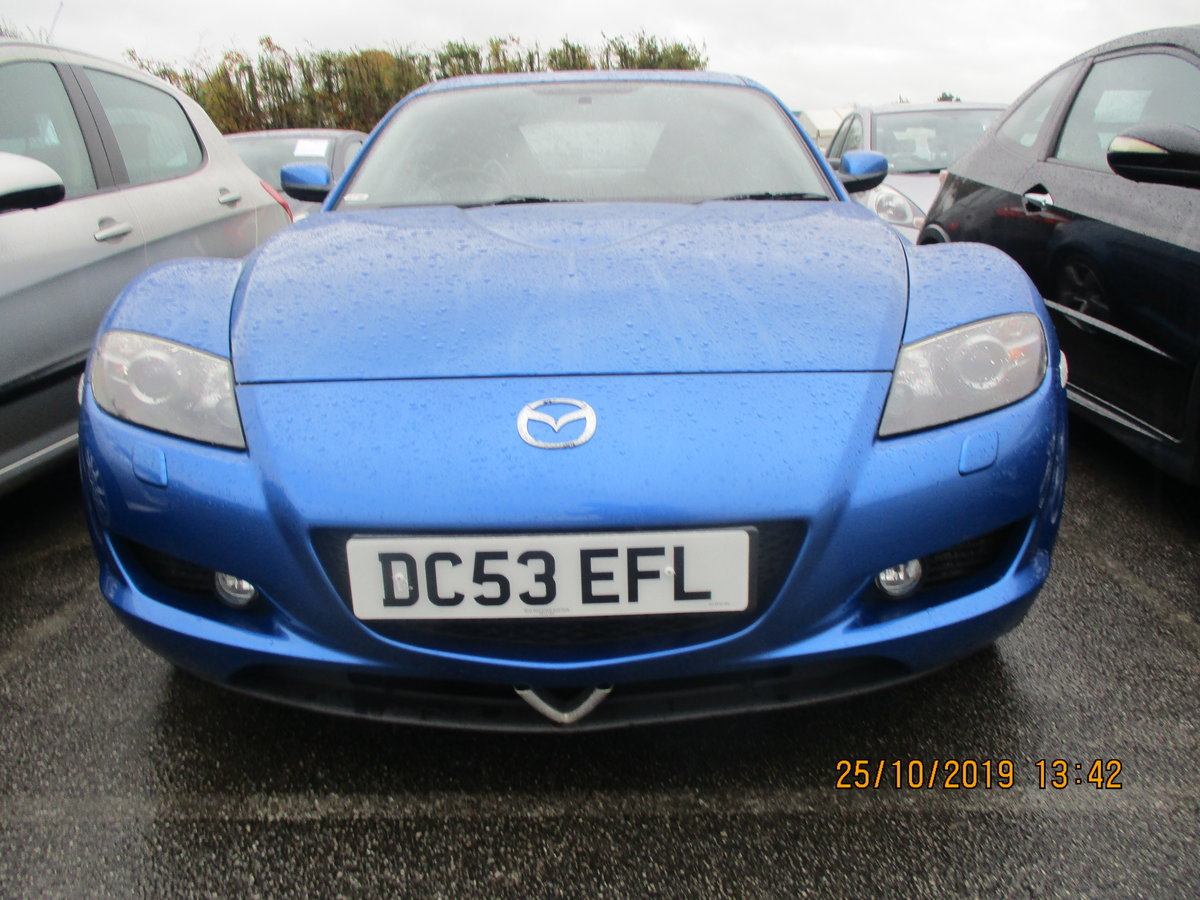 2004 RX 8 ROTAY IN A STRIKING METALLIC BLUE JUST 55K FROM NEW FSH For Sale (picture 1 of 6)