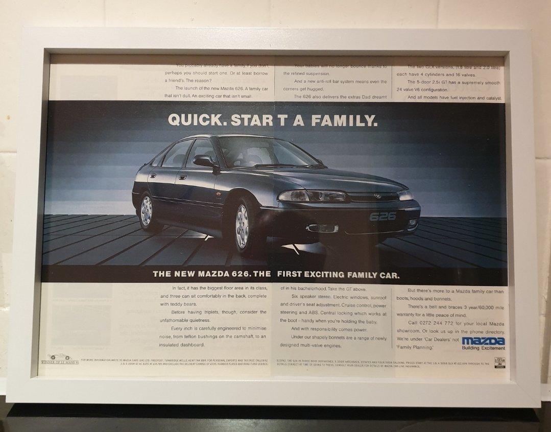 1992 Mazda 626 Framed Advert Original  For Sale (picture 1 of 3)