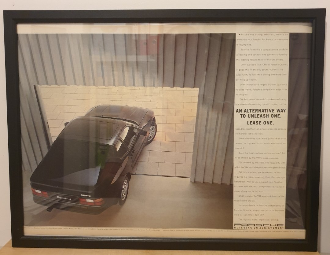 Original 1989 Porsche 944 Framed Advert