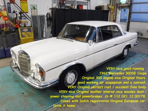1966 Mercedes 300 SE coupe white for sale For Sale (picture 6 of 6)
