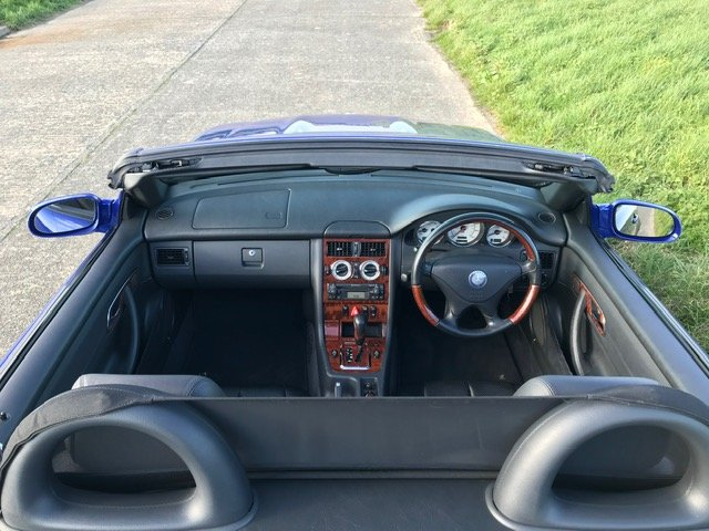 2000 Mercedes SLK320 R170 Lindarite Blue Walnut Leather For Sale (picture 5 of 6)