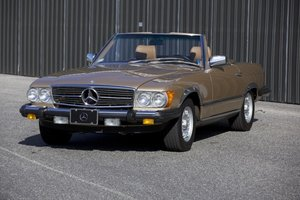1985 Mercedes 380 SL Roadster = clean Gold(~)Tan $29.5k For Sale