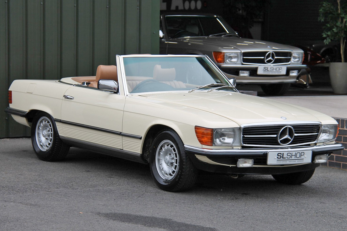 1985 Mercedes-Benz 380SL (R107) #2059 Palomino Leather Brown Roof For Sale (picture 1 of 6)