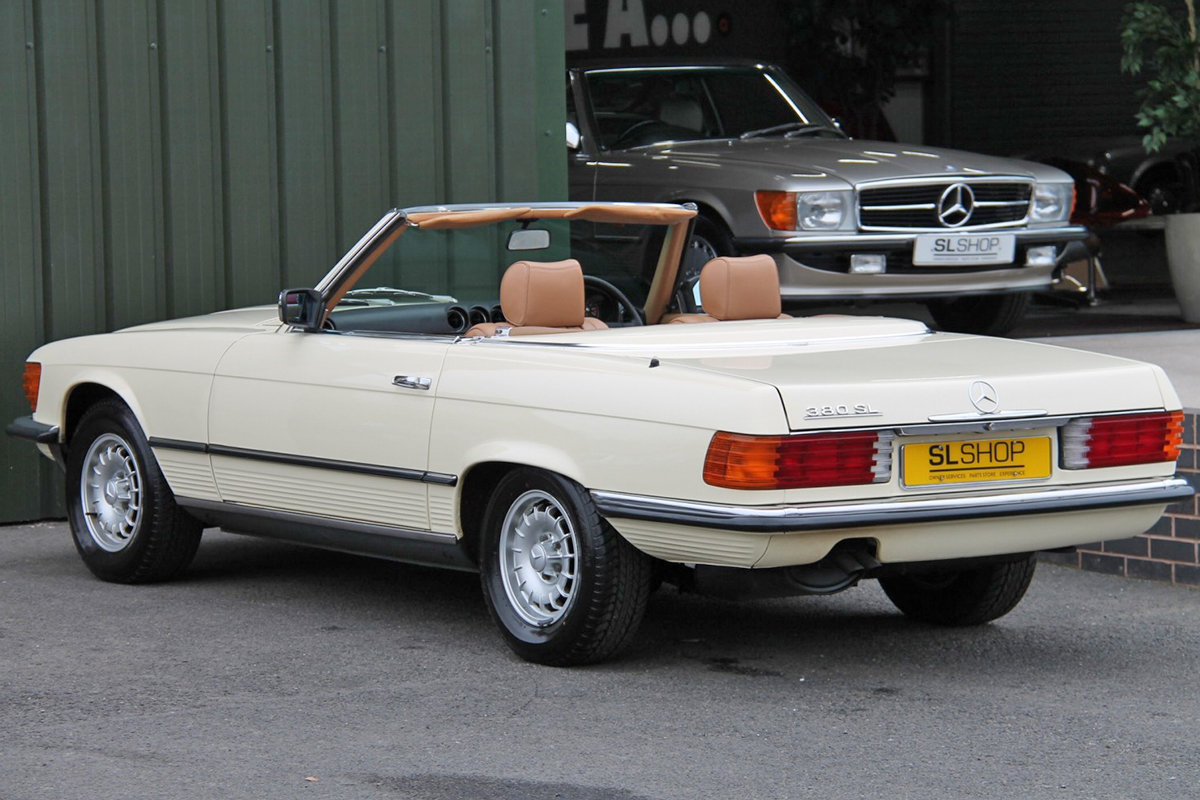 1985 Mercedes-Benz 380SL (R107) #2059 Palomino Leather Brown Roof For Sale (picture 2 of 6)