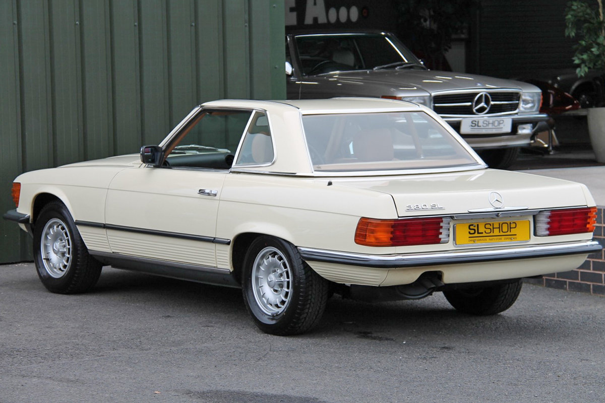 1985 Mercedes-Benz 380SL (R107) #2059 Palomino Leather Brown Roof For Sale (picture 3 of 6)