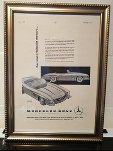1958 Mercedes Framed Advert Original