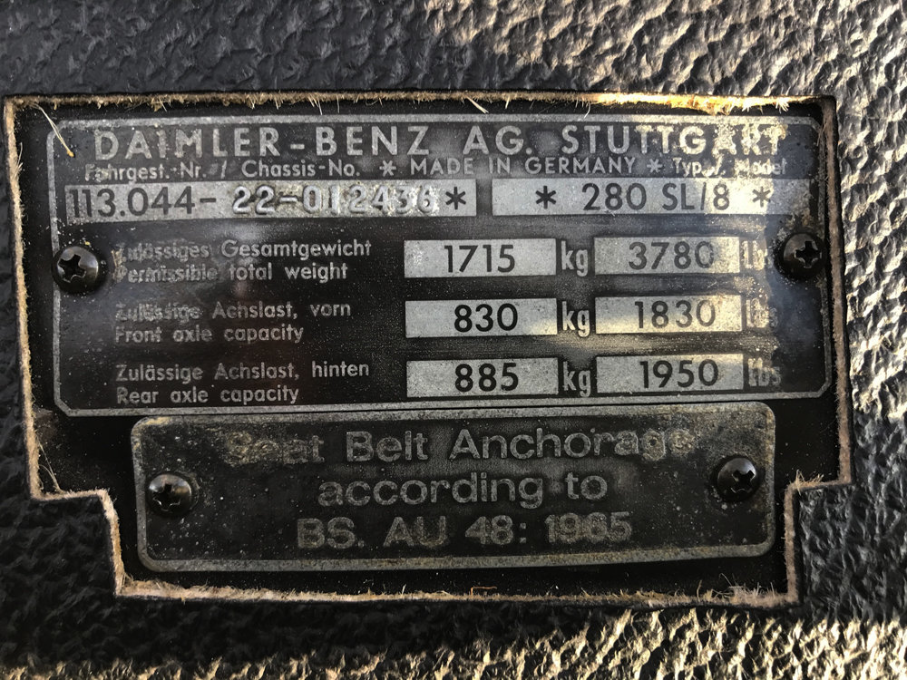 1970 Mercedes Benz 280SL - completely restored For Sale (picture 24 of 24)