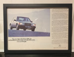 1987 Mercedes 190E Framed Advert Original