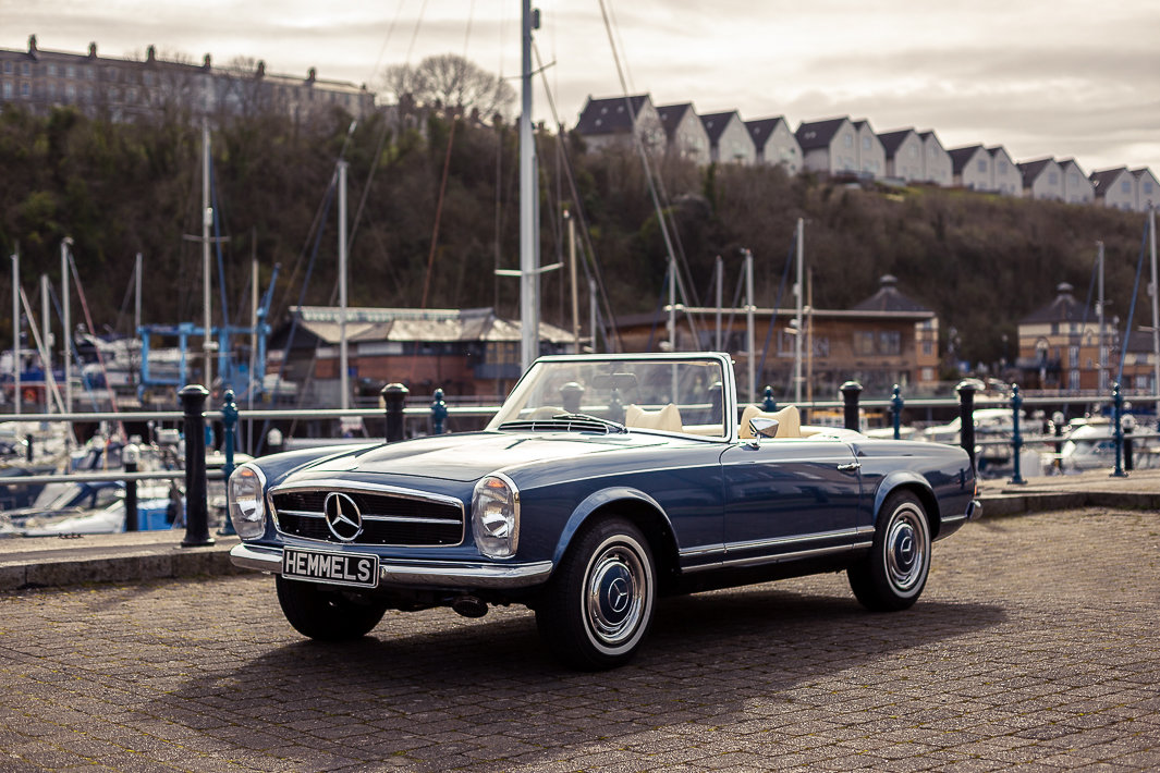 1970 Mercedes-Benz 280 SL Roadster in Blue Metallic by Hemmels For Sale (picture 1 of 6)
