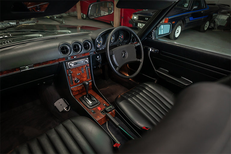 1985 Mercedes-Benz 380SL Black with Black Leather and Rear Seats SOLD (picture 8 of 11)