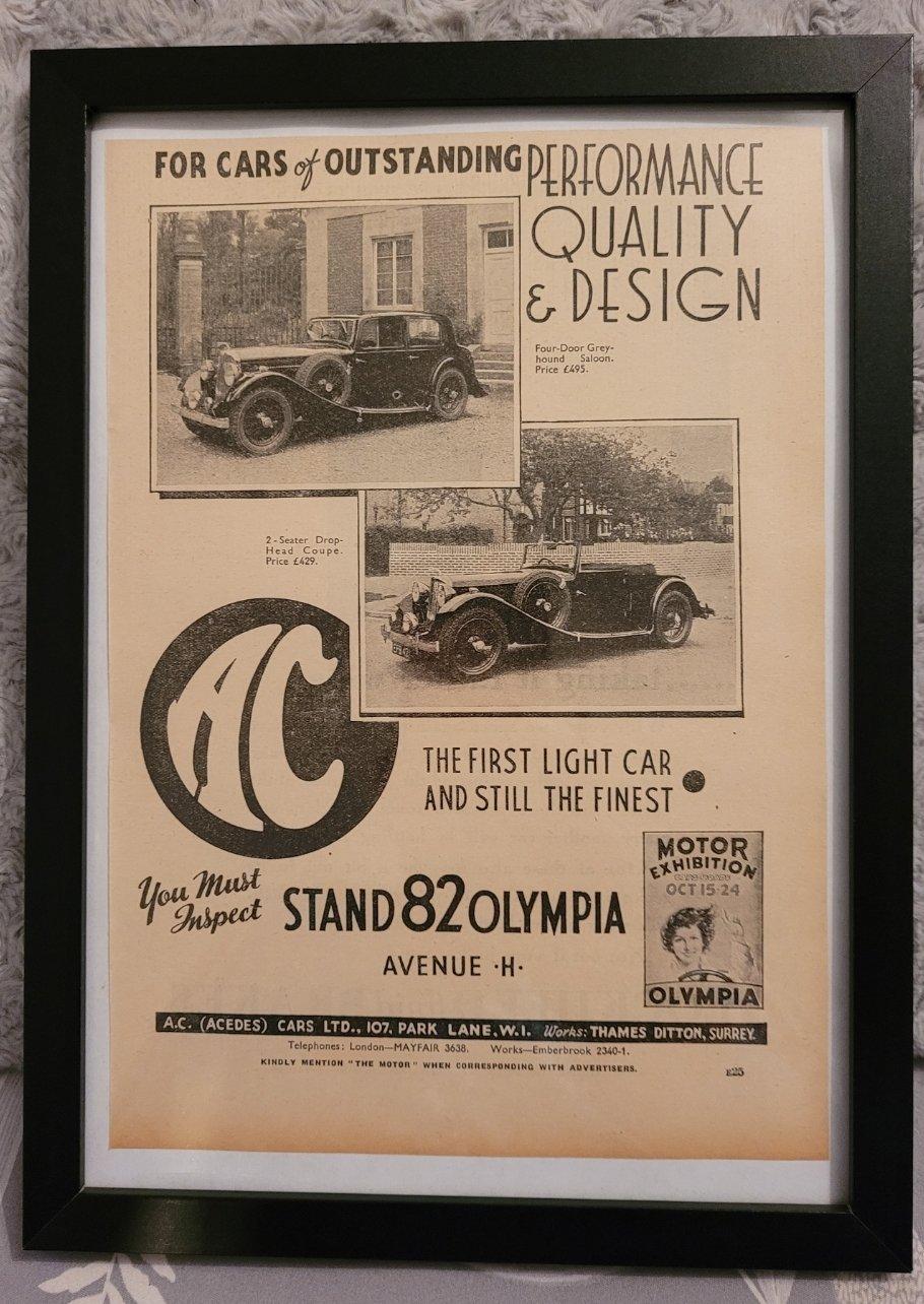 Original 1936 AC Cars Framed Advert