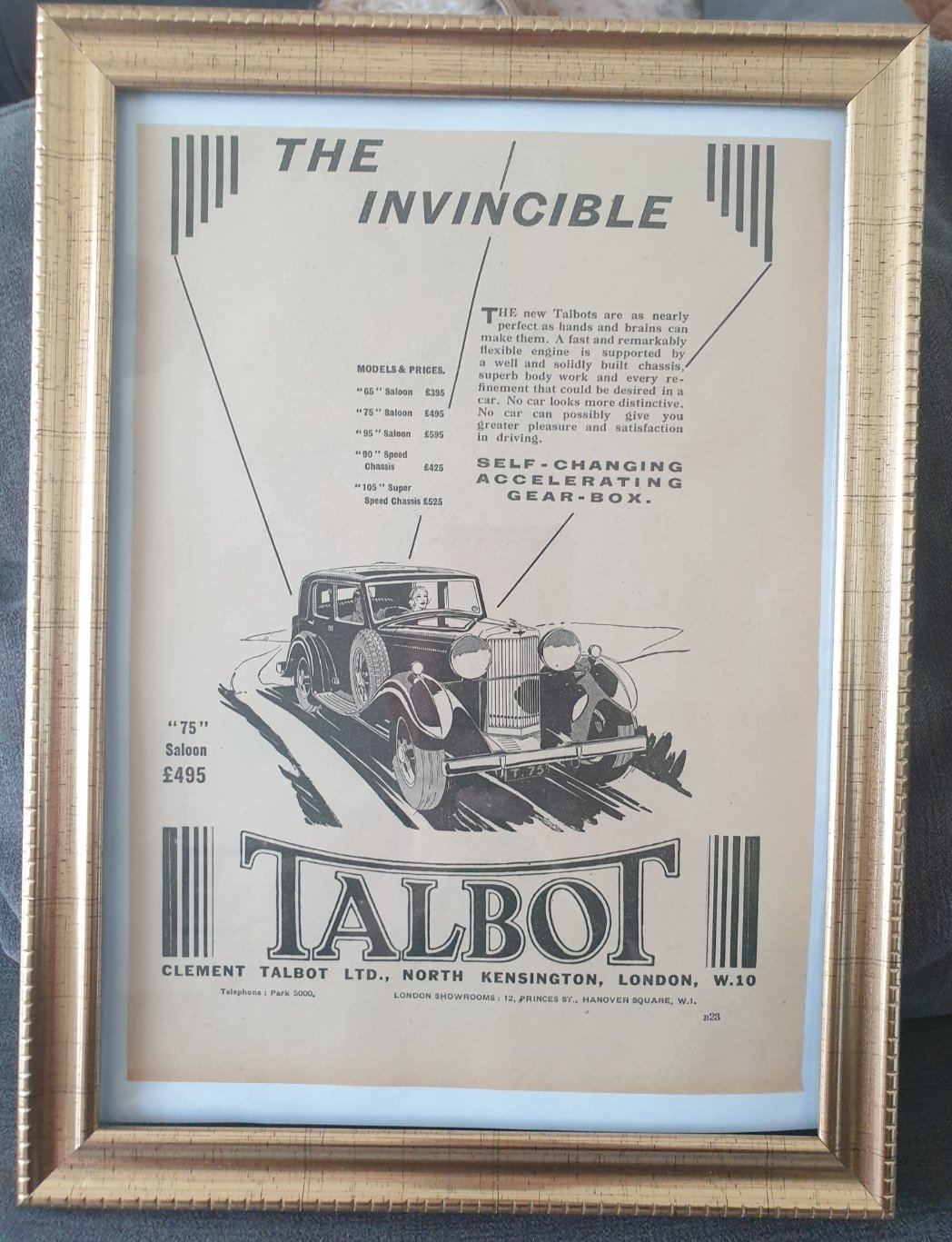 Original 1933 Talbot 75 Framed Advert