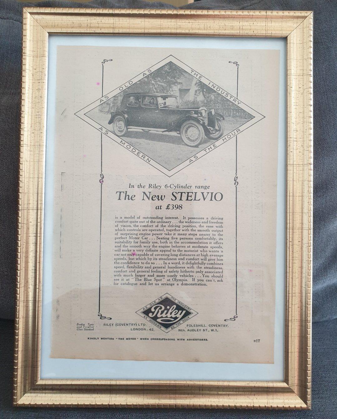 1964 Original 1930 Riley Stelvio Framed Advert  For Sale (picture 1 of 3)