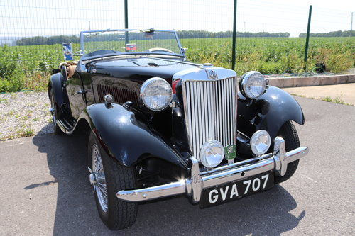 1951 MG TD, UK car in factory black with chrome wires SOLD (picture 1 of 6)