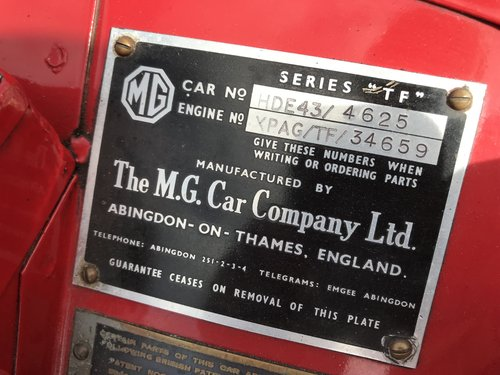1954 MG TF with many extras - price adjusted For Sale (picture 6 of 6)