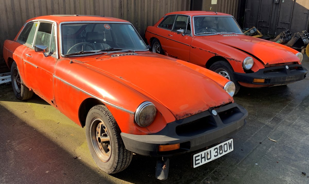 1981 2 x MGB GT's for restoration For Sale by Auction (picture 1 of 6)