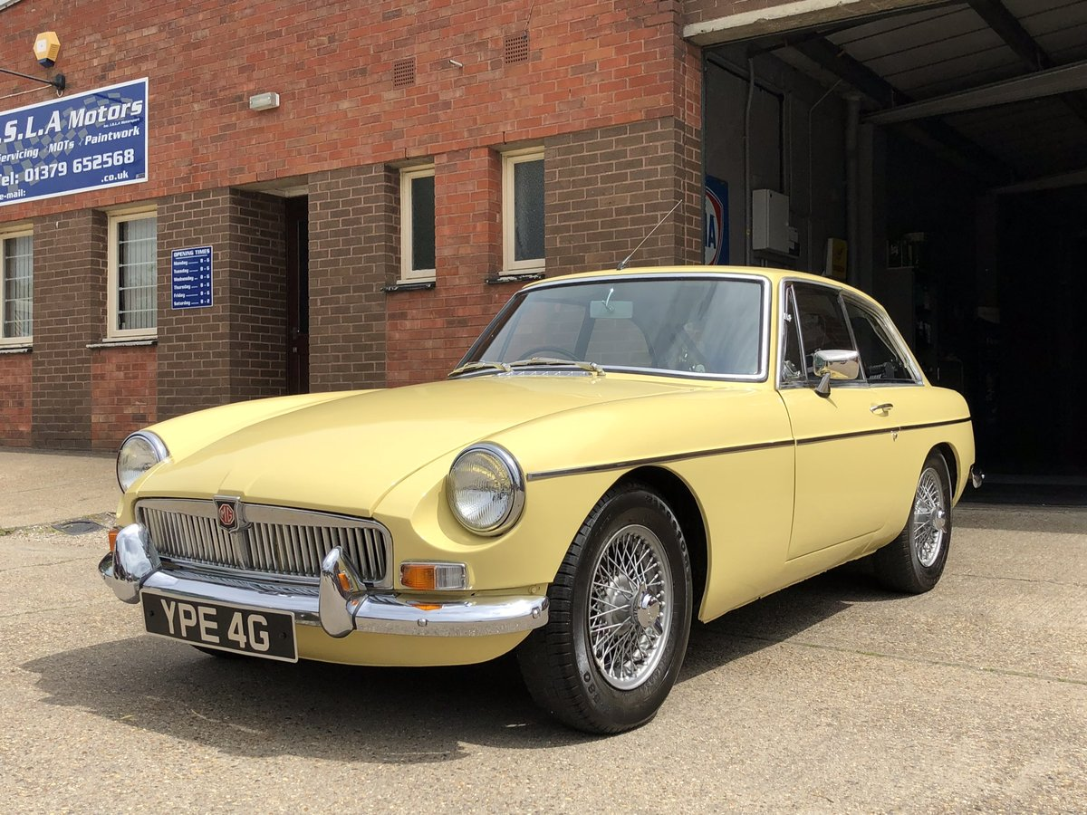 1969 MGB GT, Primrose Yellow, overdrive, wire wheels SOLD (picture 1 of 6)