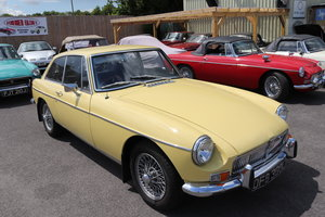 MGB GT in Primrose , wires and overdrive