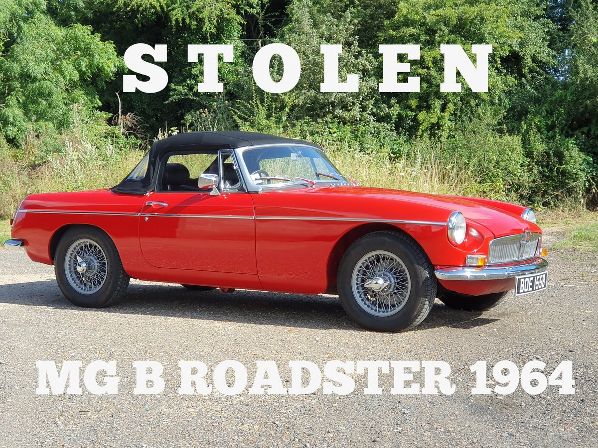 MG B Roadster, 1964, Flame Red - STOLEN For Sale (picture 1 of 2)